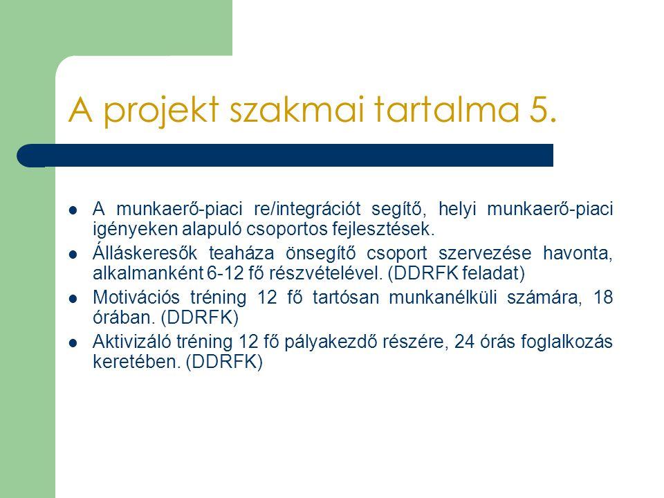 A projekt szakmai tartalma 5. A munkaerő-piaci re/integrációt segítő, helyi munkaerő-piaci igényeken alapuló csoportos fejlesztések. Álláskeresők teah