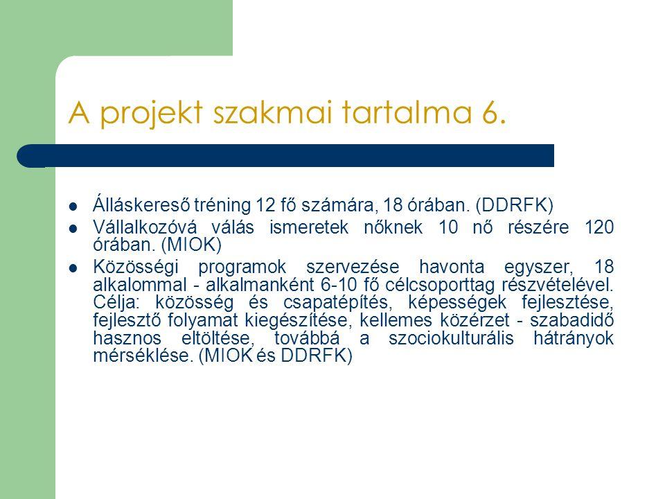 A projekt szakmai tartalma 6. Álláskereső tréning 12 fő számára, 18 órában. (DDRFK) Vállalkozóvá válás ismeretek nőknek 10 nő részére 120 órában. (MIO