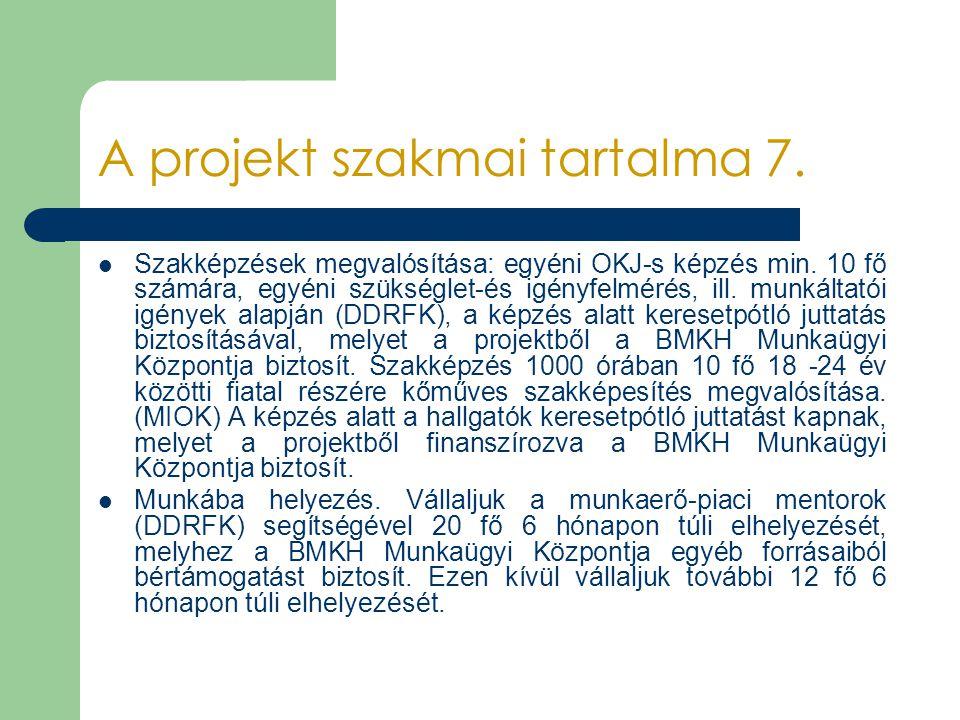 A projekt szakmai tartalma 7. Szakképzések megvalósítása: egyéni OKJ-s képzés min. 10 fő számára, egyéni szükséglet-és igényfelmérés, ill. munkáltatói