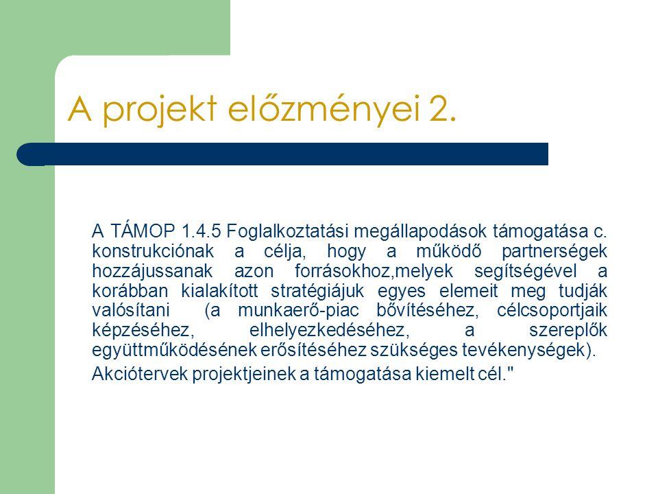 A projekt előzményei 2. A TÁMOP 1.4.5 Foglalkoztatási megállapodások támogatása c. konstrukciónak a célja, hogy a működő partnerségek hozzájussanak az