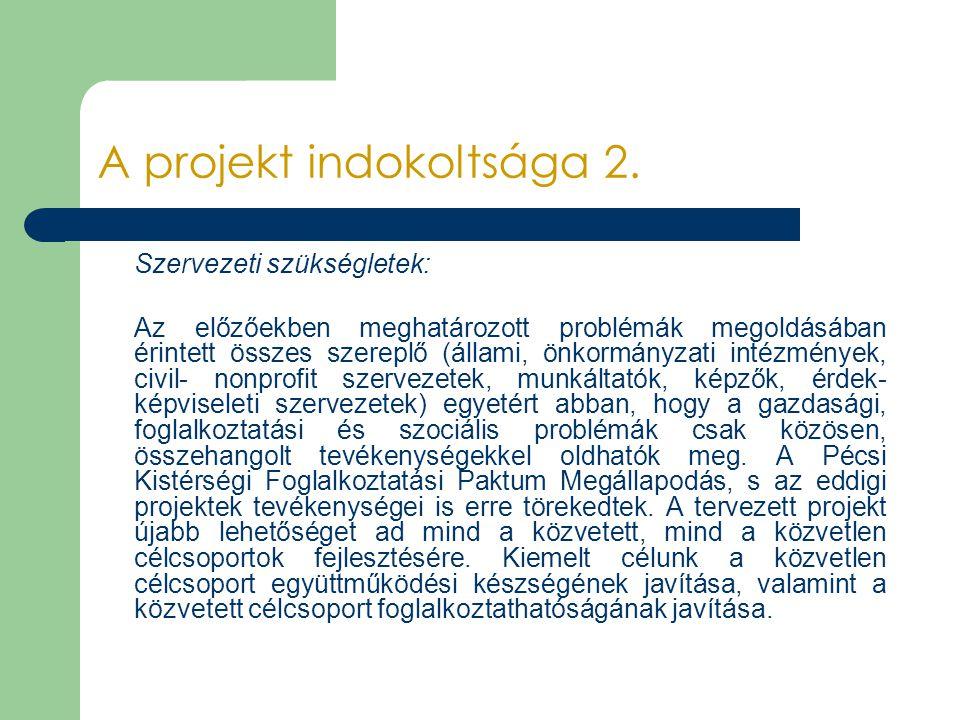 A projekt indokoltsága 2. Szervezeti szükségletek: Az előzőekben meghatározott problémák megoldásában érintett összes szereplő (állami, önkormányzati