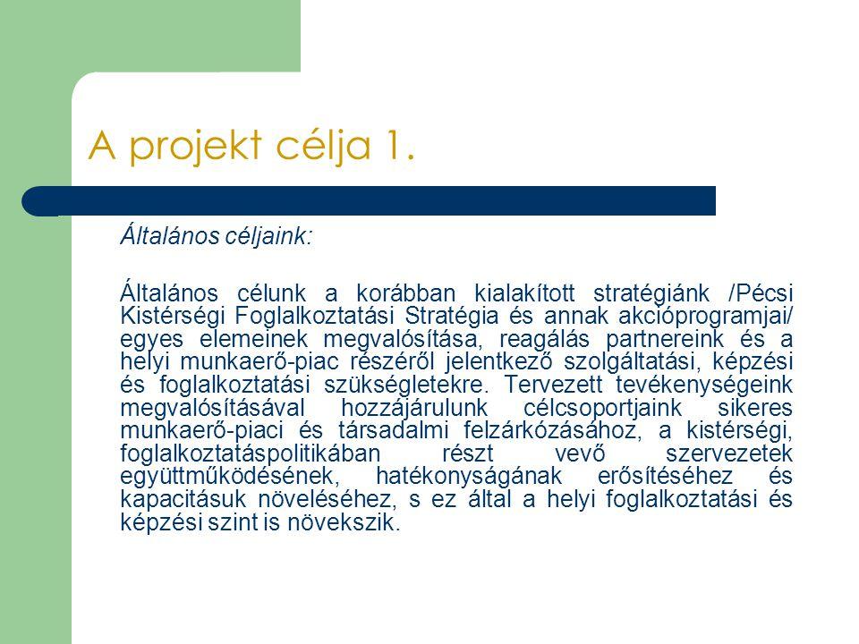 A projekt célja 1. Általános céljaink: Általános célunk a korábban kialakított stratégiánk /Pécsi Kistérségi Foglalkoztatási Stratégia és annak akcióp