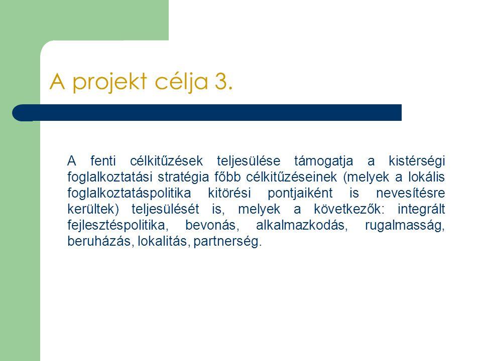 A projekt célja 3. A fenti célkitűzések teljesülése támogatja a kistérségi foglalkoztatási stratégia főbb célkitűzéseinek (melyek a lokális foglalkozt