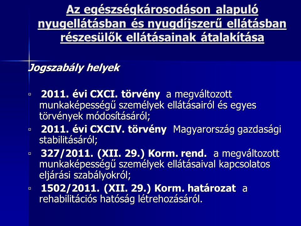Az egészségkárosodáson alapuló nyugellátásban és nyugdíjszerű ellátásban részesülők ellátásainak átalakítása Jogszabály helyek ▫ 2011. évi CXCI. törvé