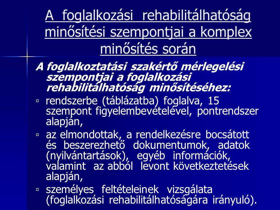 A foglalkozási rehabilitálhatóság minősítési szempontjai a komplex minősítés során A foglalkoztatási szakértő mérlegelési szempontjai a foglalkozási r
