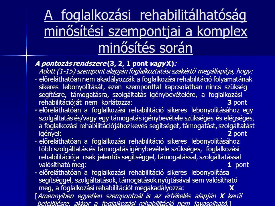 A foglalkozási rehabilitálhatóság minősítési szempontjai a komplex minősítés során A pontozás rendszere (3, 2, 1 pont vagy X): Adott (1-15) szempont a
