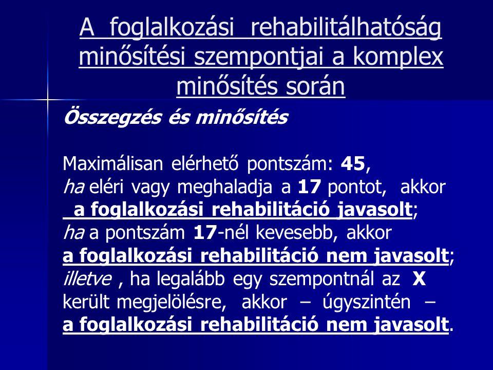 A foglalkozási rehabilitálhatóság minősítési szempontjai a komplex minősítés során Összegzés és minősítés Maximálisan elérhető pontszám: 45, ha eléri