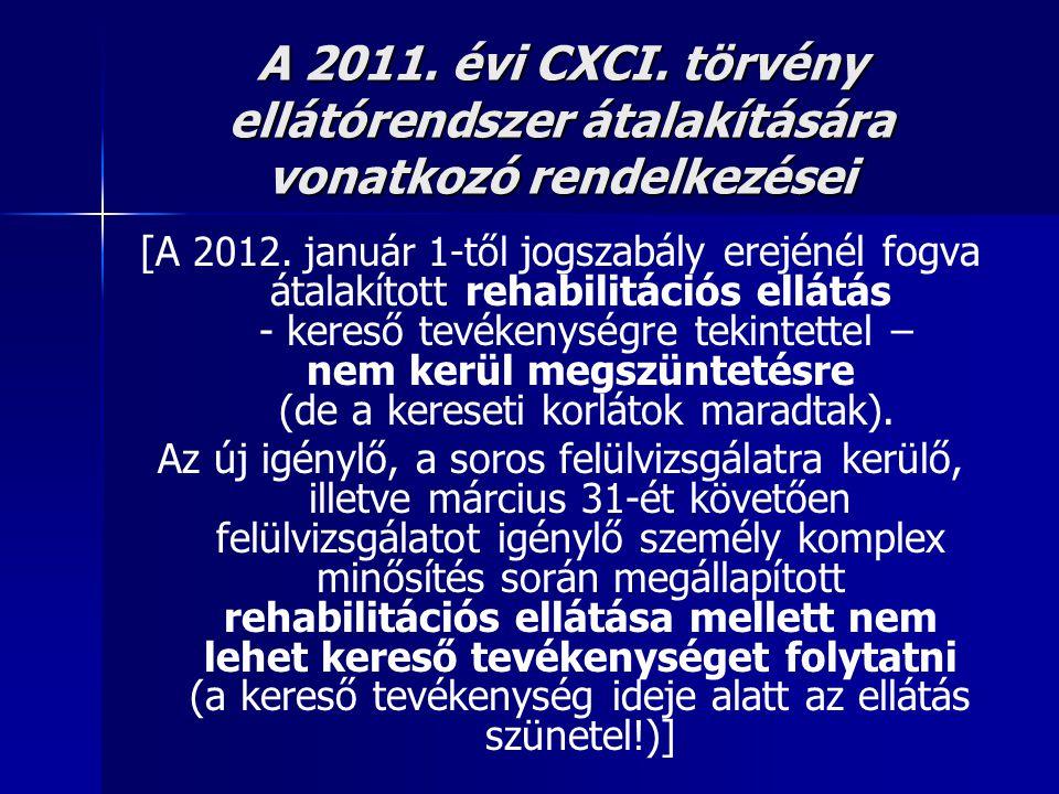 A 2011. évi CXCI. törvény ellátórendszer átalakítására vonatkozó rendelkezései [A 2012. január 1-től jogszabály erejénél fogva átalakított rehabilitác