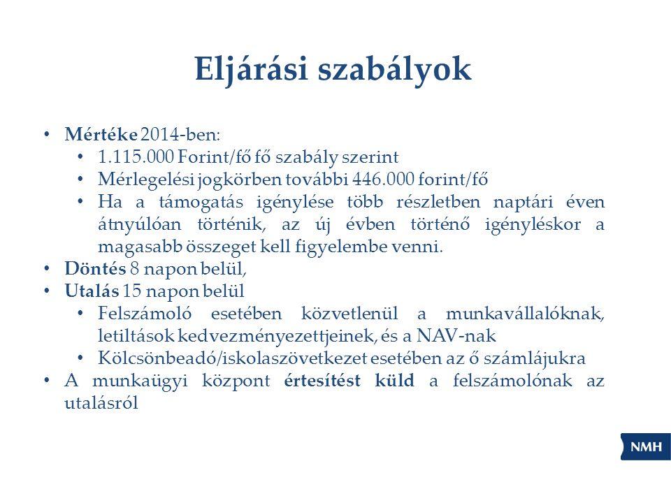 Eljárási szabályok Mértéke 2014-ben: 1.115.000 Forint/fő fő szabály szerint Mérlegelési jogkörben további 446.000 forint/fő Ha a támogatás igénylése t