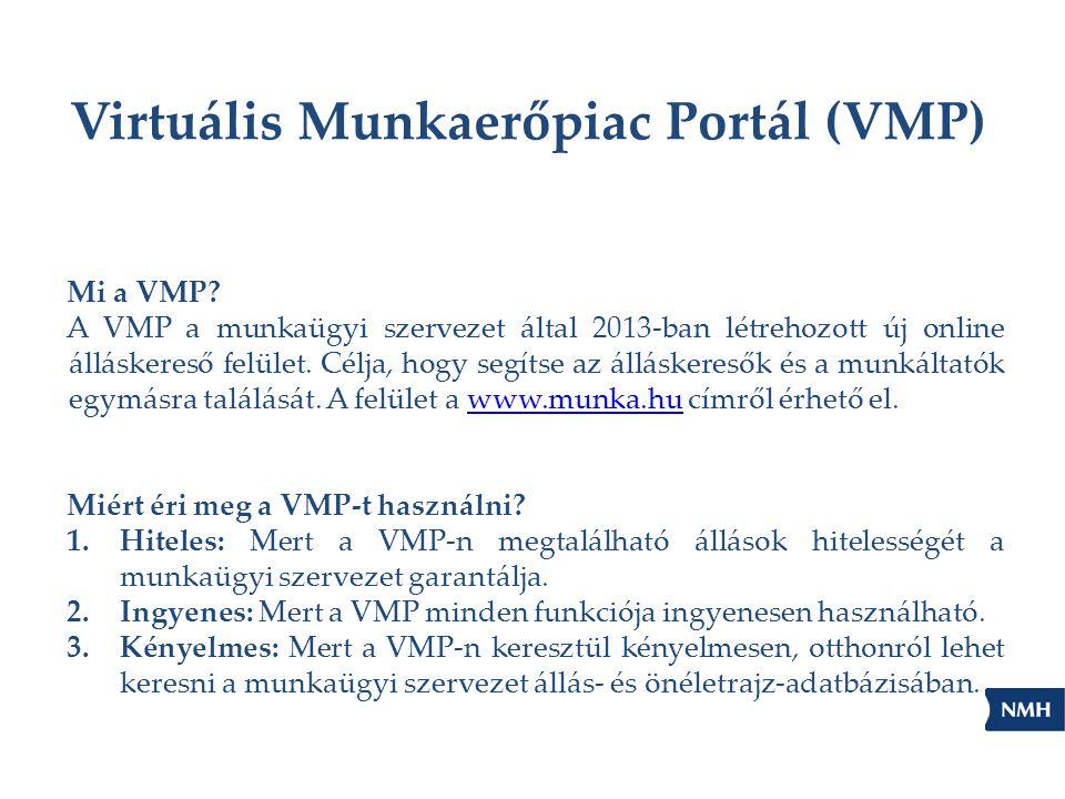 Virtuális Munkaerőpiac Portál (VMP) Mi a VMP? A VMP a munkaügyi szervezet által 2013-ban létrehozott új online álláskereső felület. Célja, hogy segíts
