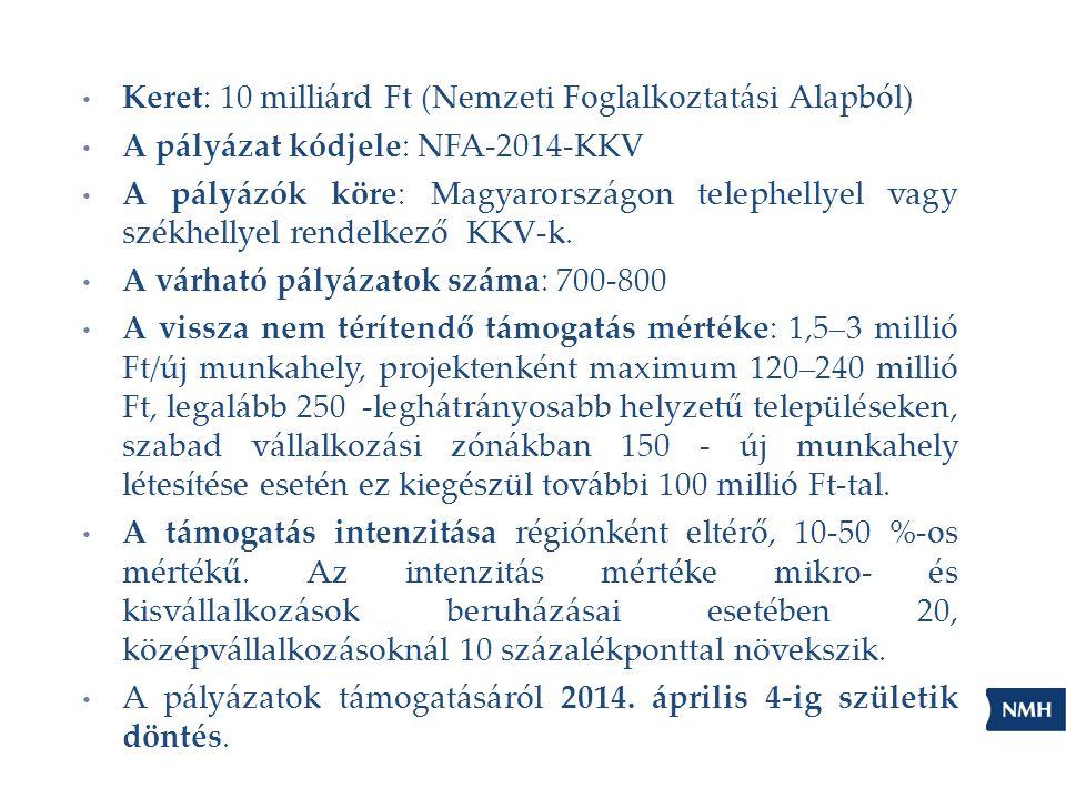 Keret: 10 milliárd Ft (Nemzeti Foglalkoztatási Alapból) A pályázat kódjele: NFA-2014-KKV A pályázók köre: Magyarországon telephellyel vagy székhellyel