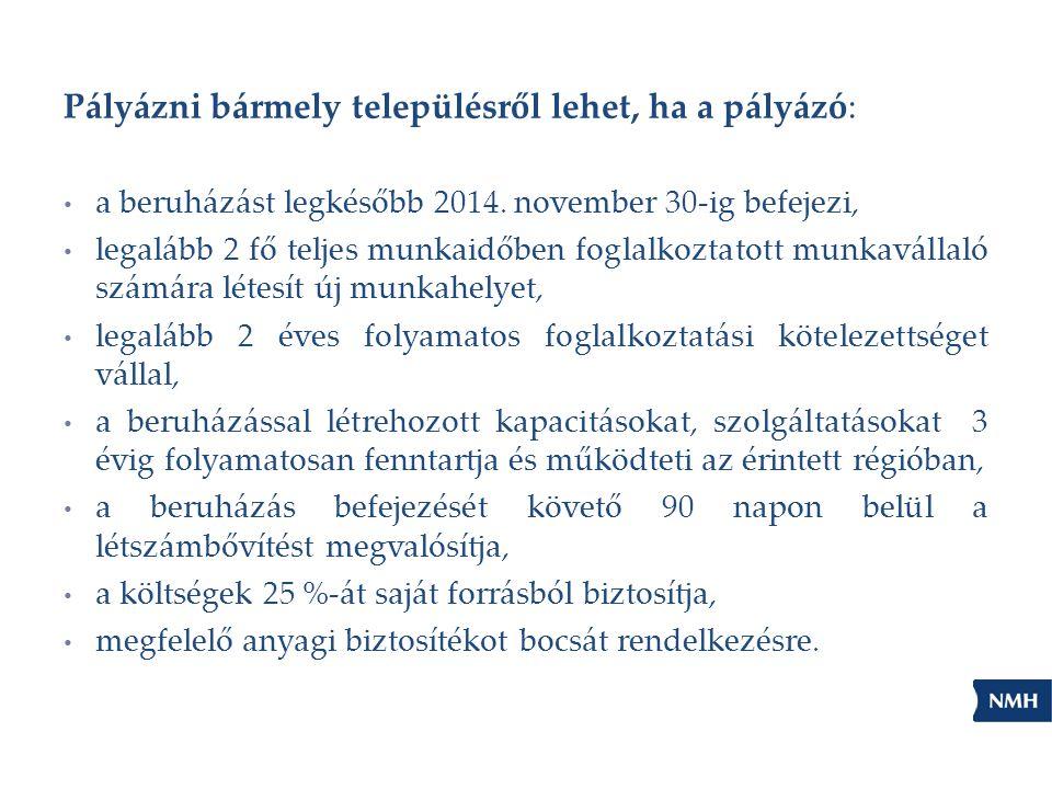 Pályázni bármely településről lehet, ha a pályázó: a beruházást legkésőbb 2014. november 30-ig befejezi, legalább 2 fő teljes munkaidőben foglalkoztat