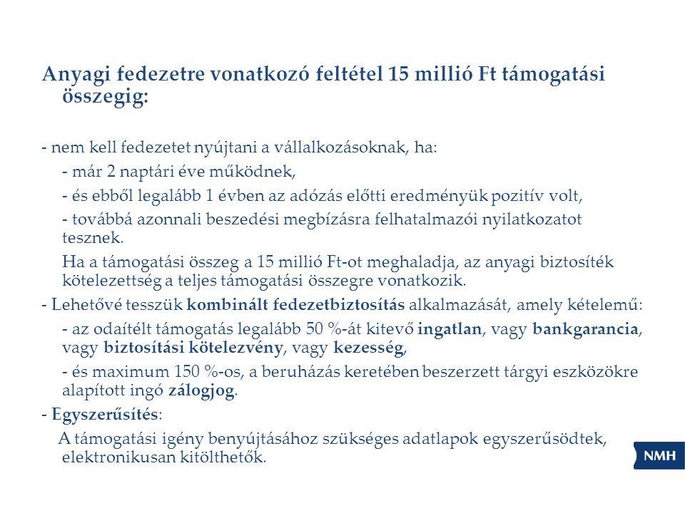Anyagi fedezetre vonatkozó feltétel 15 millió Ft támogatási összegig: - nem kell fedezetet nyújtani a vállalkozásoknak, ha: - már 2 naptári éve működn