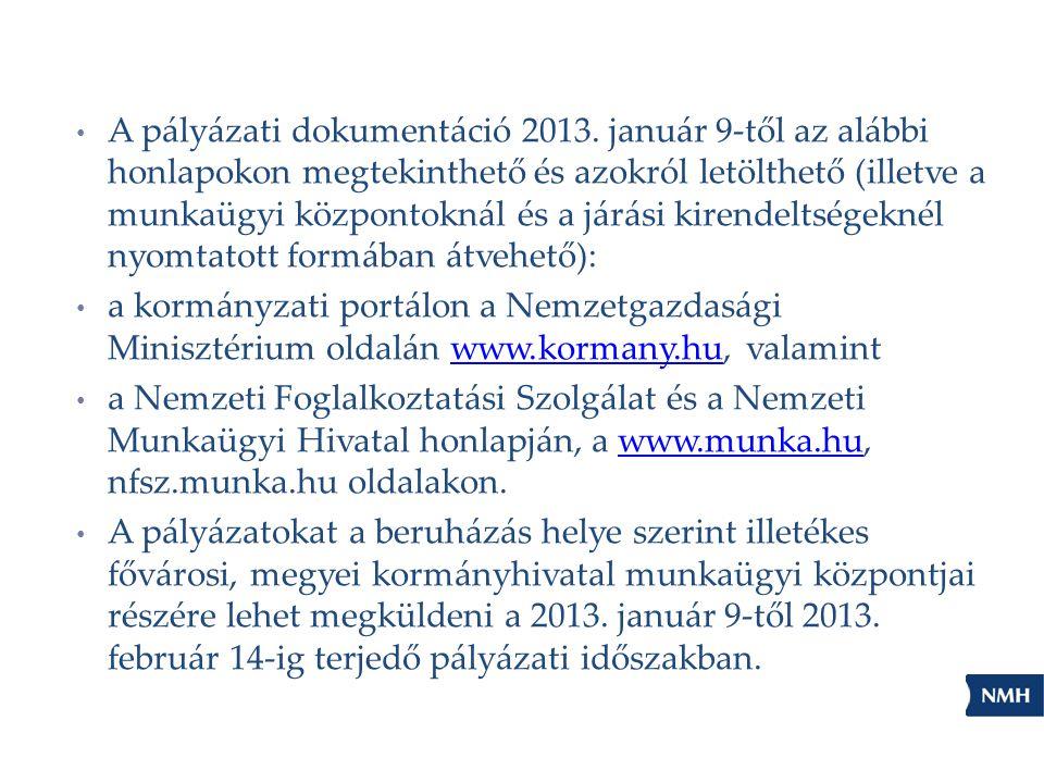 A pályázati dokumentáció 2013. január 9-től az alábbi honlapokon megtekinthető és azokról letölthető (illetve a munkaügyi központoknál és a járási kir