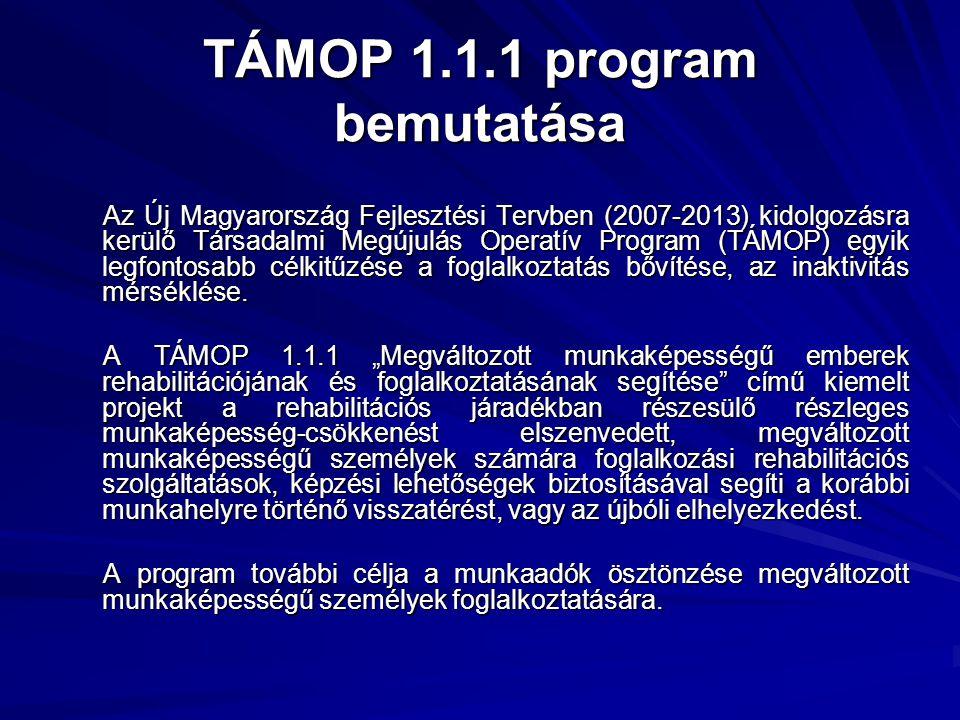 TÁMOP 1.1.1 program bemutatása Az Új Magyarország Fejlesztési Tervben (2007-2013) kidolgozásra kerülő Társadalmi Megújulás Operatív Program (TÁMOP) eg