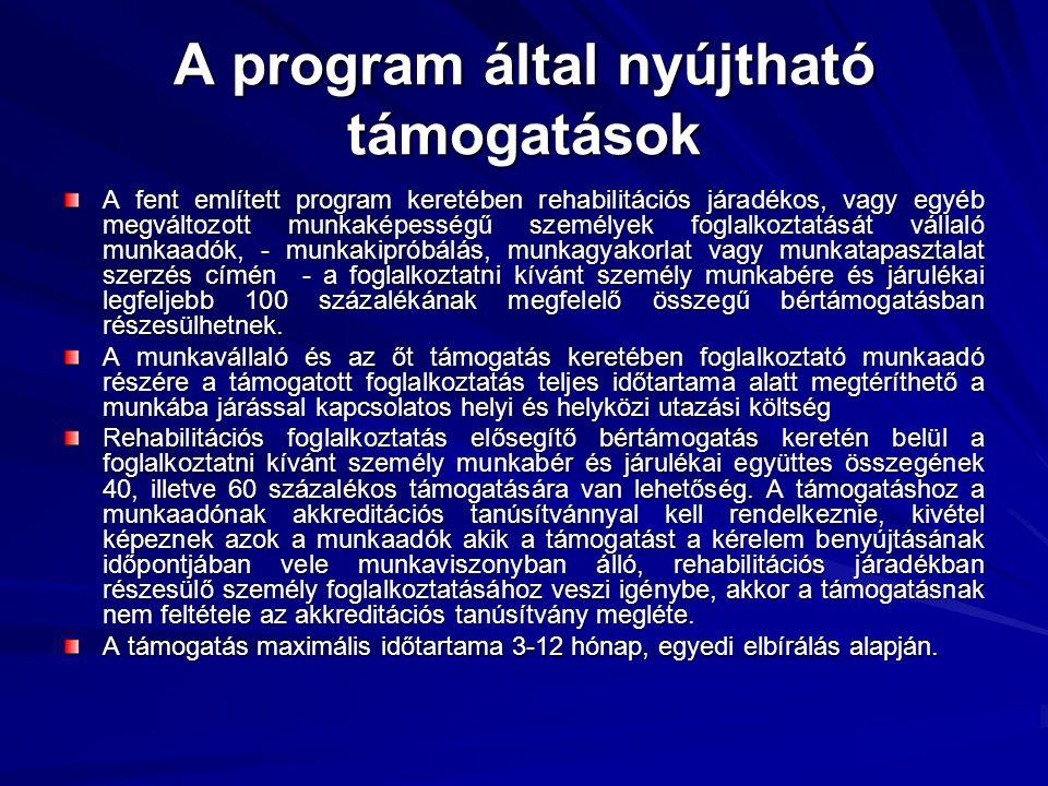 A program által nyújtható támogatások A fent említett program keretében rehabilitációs járadékos, vagy egyéb megváltozott munkaképességű személyek fog