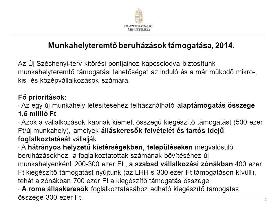 2 Munkahelyteremtő beruházások támogatása, 2014.