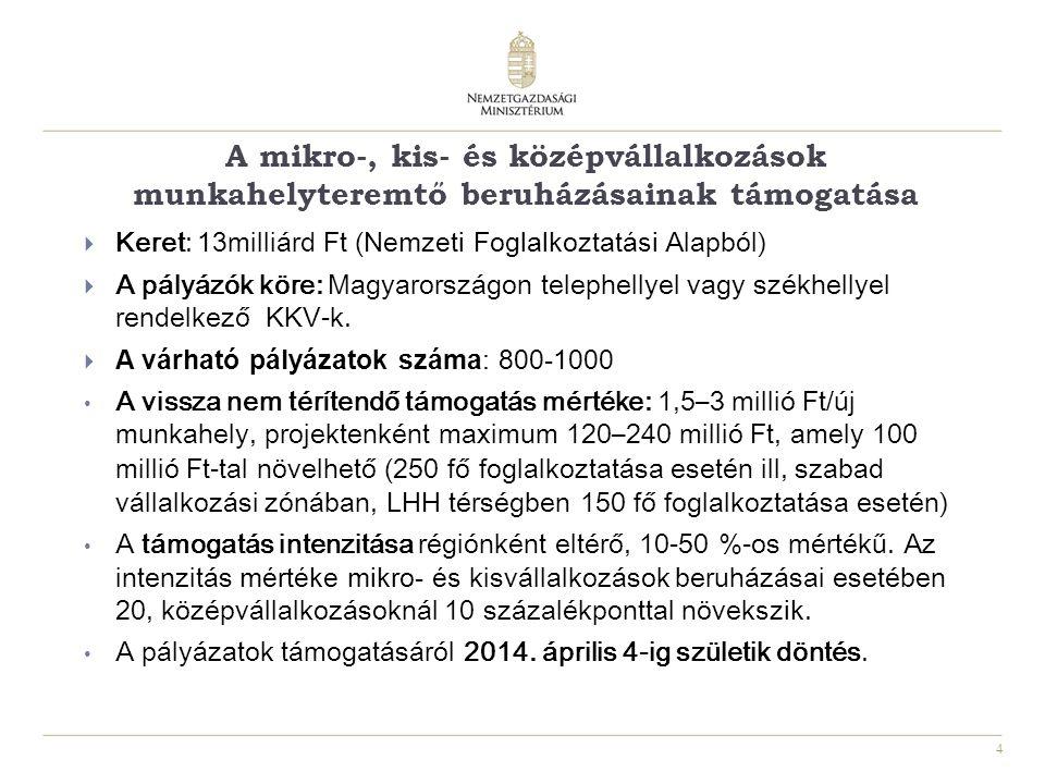 4 A mikro-, kis- és középvállalkozások munkahelyteremtő beruházásainak támogatása  Keret: 13 milliárd Ft ( Nemzeti Foglalkoztatási Alapból)  A pályázók köre: Magyarországon telephellyel vagy székhellyel rendelkező KKV-k.