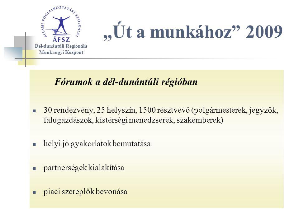 """Fórumok a dél-dunántúli régióban 30 rendezvény, 25 helyszín, 1500 résztvevő (polgármesterek, jegyzők, falugazdászok, kistérségi menedzserek, szakemberek) helyi jó gyakorlatok bemutatása partnerségek kialakítása piaci szereplők bevonása """"Út a munkához 2009 Dél-dunántúli Regionális Munkaügyi Központ"""