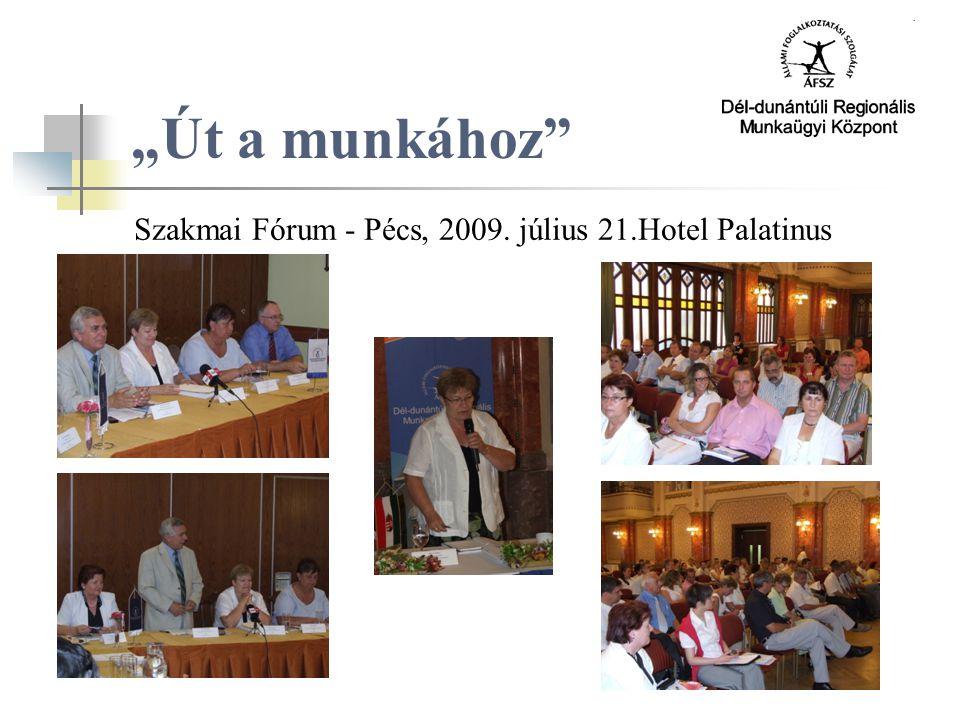 """""""Út a munkához Szakmai Fórum - Pécs, 2009. július 21.Hotel Palatinus"""