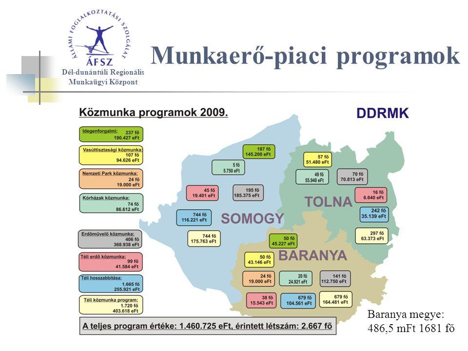 Munkaerő-piaci programok Dél-dunántúli Regionális Munkaügyi Központ Baranya megye: 486,5 mFt 1681 fő