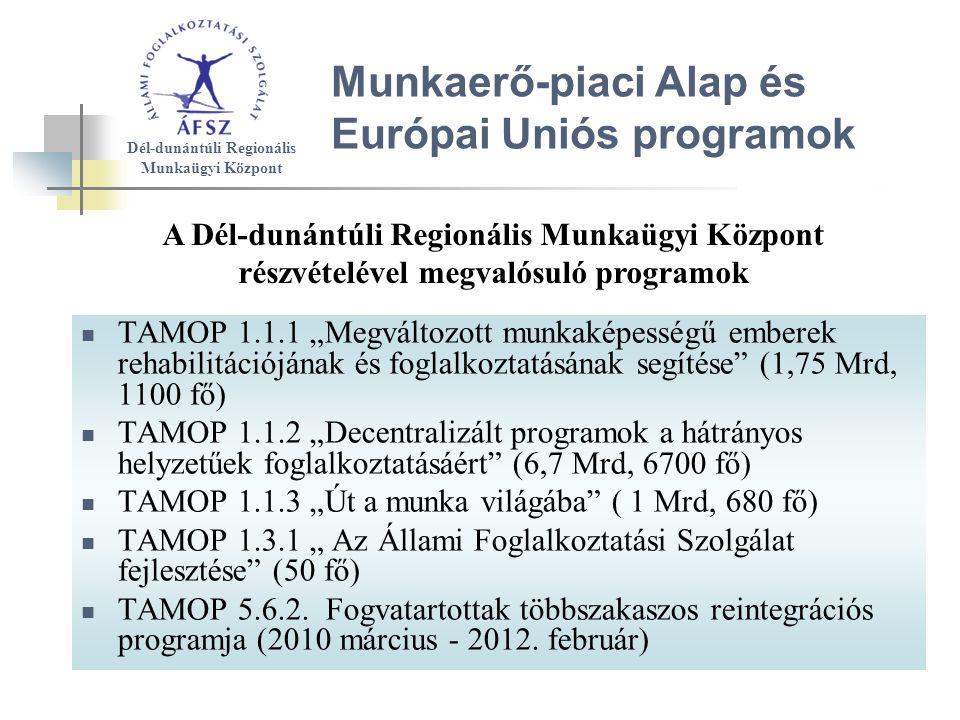 """Munkaerő-piaci Alap és Európai Uniós programok TAMOP 1.1.1 """"Megváltozott munkaképességű emberek rehabilitációjának és foglalkoztatásának segítése (1,75 Mrd, 1100 fő) TAMOP 1.1.2 """"Decentralizált programok a hátrányos helyzetűek foglalkoztatásáért (6,7 Mrd, 6700 fő) TAMOP 1.1.3 """"Út a munka világába ( 1 Mrd, 680 fő) TAMOP 1.3.1 """" Az Állami Foglalkoztatási Szolgálat fejlesztése (50 fő) TAMOP 5.6.2."""