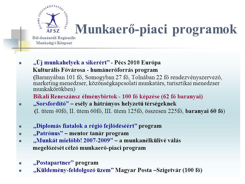 """Munkaerő-piaci programok """"Új munkahelyek a sikerért - Pécs 2010 Európa Kulturális Fővárosa - humánerőforrás program (Baranyában 101 fő, Somogyban 27 fő, Tolnában 22 fő rendezvényszervező, marketing menedzser, közönségkapcsolati munkatárs, turisztikai menedzser munkakörökben) Bikali Reneszánsz élménybirtok - 100 fő képzése (62 fő baranyai) """"Sorsfordító – esély a hátrányos helyzetű térségeknek (I."""