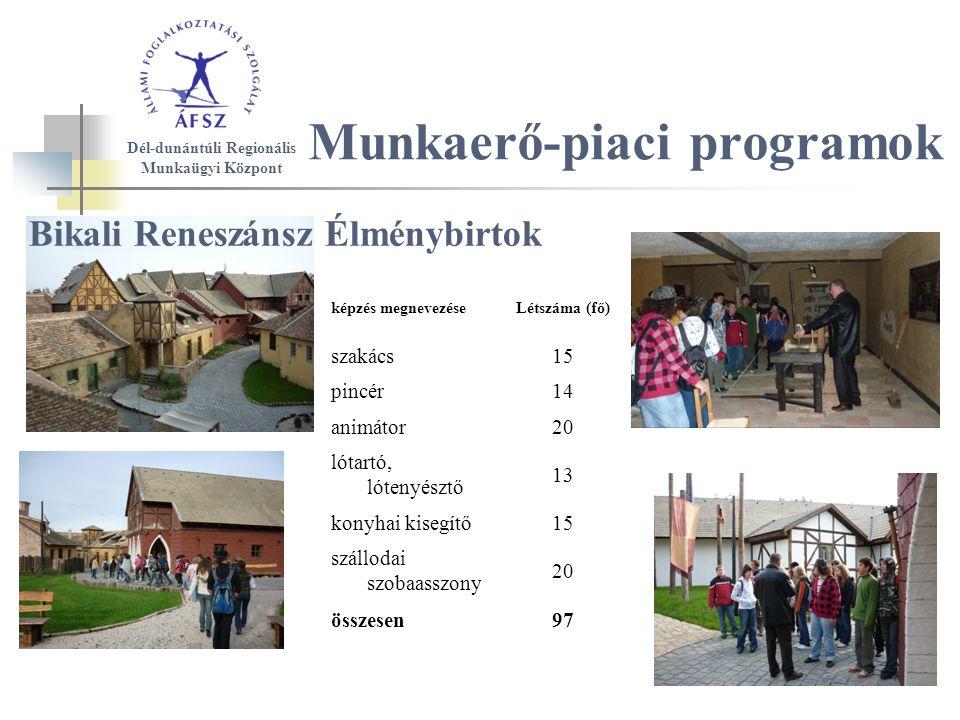 Munkaerő-piaci programok Bikali Reneszánsz Élménybirtok képzés megnevezéseLétszáma (fő) szakács15 pincér14 animátor20 lótartó, lótenyésztő 13 konyhai kisegítő15 szállodai szobaasszony 20 összesen97 Dél-dunántúli Regionális Munkaügyi Központ