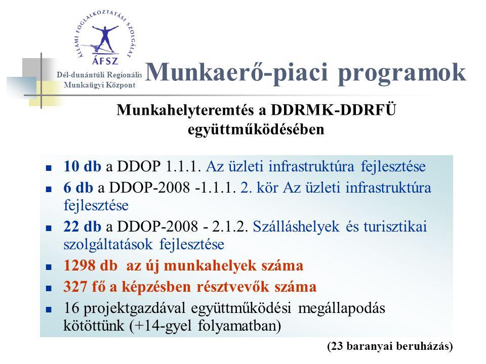 10 db a DDOP 1.1.1. Az üzleti infrastruktúra fejlesztése 6 db a DDOP-2008 -1.1.1.