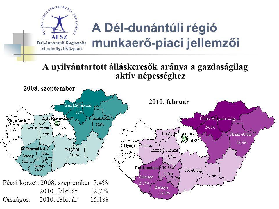A Dél-dunántúli régió munkaerő-piaci jellemzői A nyilvántartott álláskeresők aránya a gazdaságilag aktív népességhez 2008.