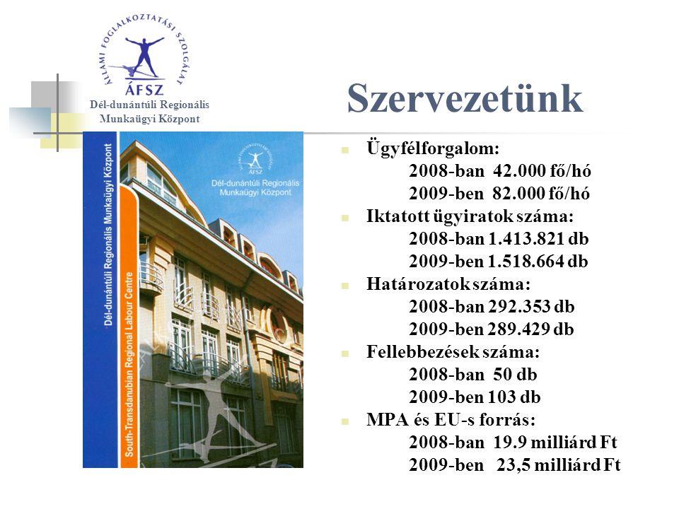 Szervezetünk Ügyfélforgalom: 2008-ban 42.000 fő/hó 2009-ben 82.000 fő/hó Iktatott ügyiratok száma: 2008-ban 1.413.821 db 2009-ben 1.518.664 db Határozatok száma: 2008-ban 292.353 db 2009-ben 289.429 db Fellebbezések száma: 2008-ban 50 db 2009-ben 103 db MPA és EU-s forrás: 2008-ban 19.9 milliárd Ft 2009-ben 23,5 milliárd Ft Dél-dunántúli Regionális Munkaügyi Központ