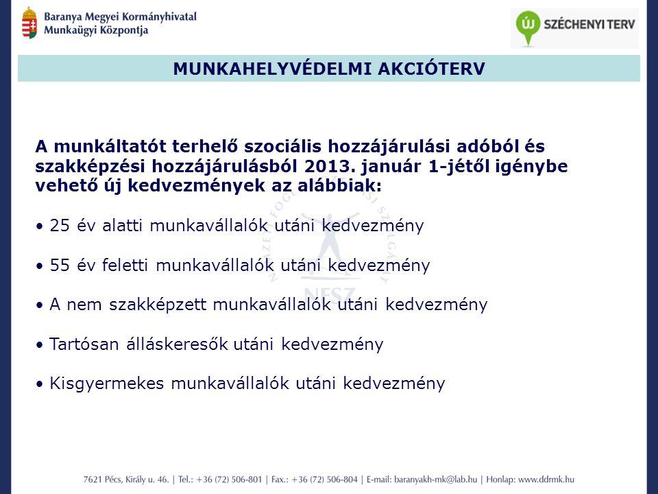 MUNKAHELYVÉDELMI AKCIÓTERV A munkáltatót terhelő szociális hozzájárulási adóból és szakképzési hozzájárulásból 2013.
