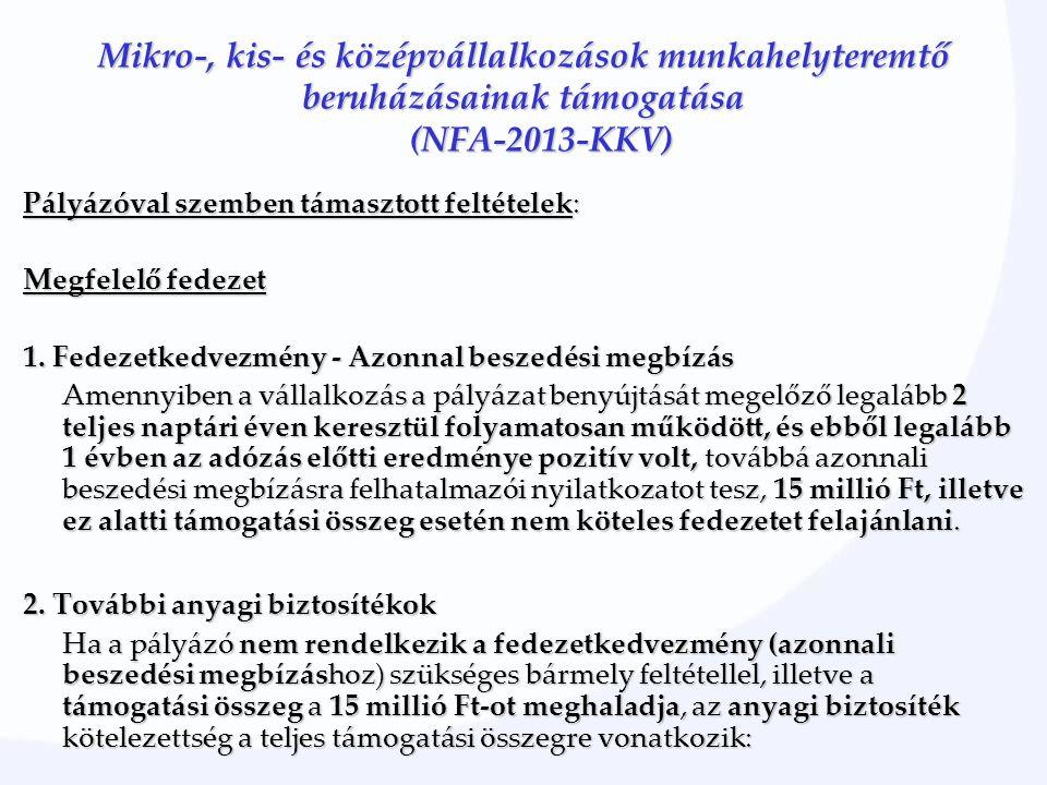 Mikro-, kis- és középvállalkozások munkahelyteremtő beruházásainak támogatása (NFA-2013-KKV) Pályázóval szemben támasztott feltételek: Megfelelő fedez