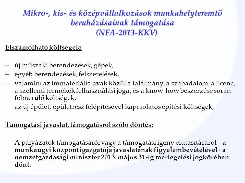 Mikro-, kis- és középvállalkozások munkahelyteremtő beruházásainak támogatása (NFA-2013-KKV) Elszámolható költségek: –új műszaki berendezések, gépek,