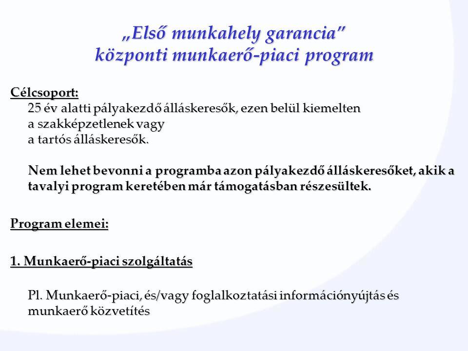 """""""Első munkahely garancia"""" központi munkaerő-piaci program Célcsoport: 25 év alatti pályakezdő álláskeresők, ezen belül kiemelten a szakképzetlenek vag"""