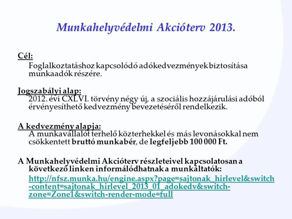 Munkahelyvédelmi Akcióterv 2013. Cél: Foglalkoztatáshoz kapcsolódó adókedvezmények biztosítása munkaadók részére. Jogszabályi alap: 2012. évi CXLVI. t