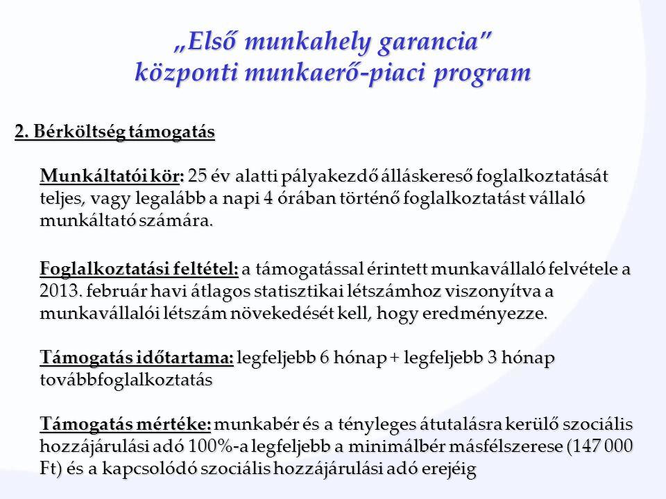 """""""Első munkahely garancia"""" központi munkaerő-piaci program 2. Bérköltség támogatás Munkáltatói kör: 25 év alatti pályakezdő álláskereső foglalkoztatásá"""