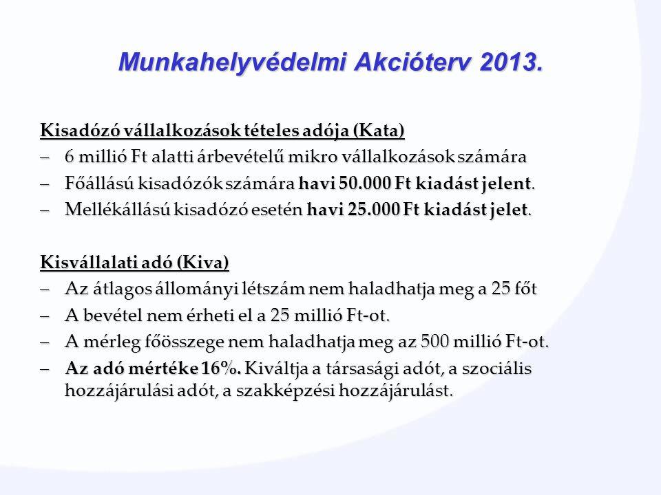 Kisadózó vállalkozások tételes adója (Kata) –6 millió Ft alatti árbevételű mikro vállalkozások számára –Főállású kisadózók számára havi 50.000 Ft kiadást jelent.