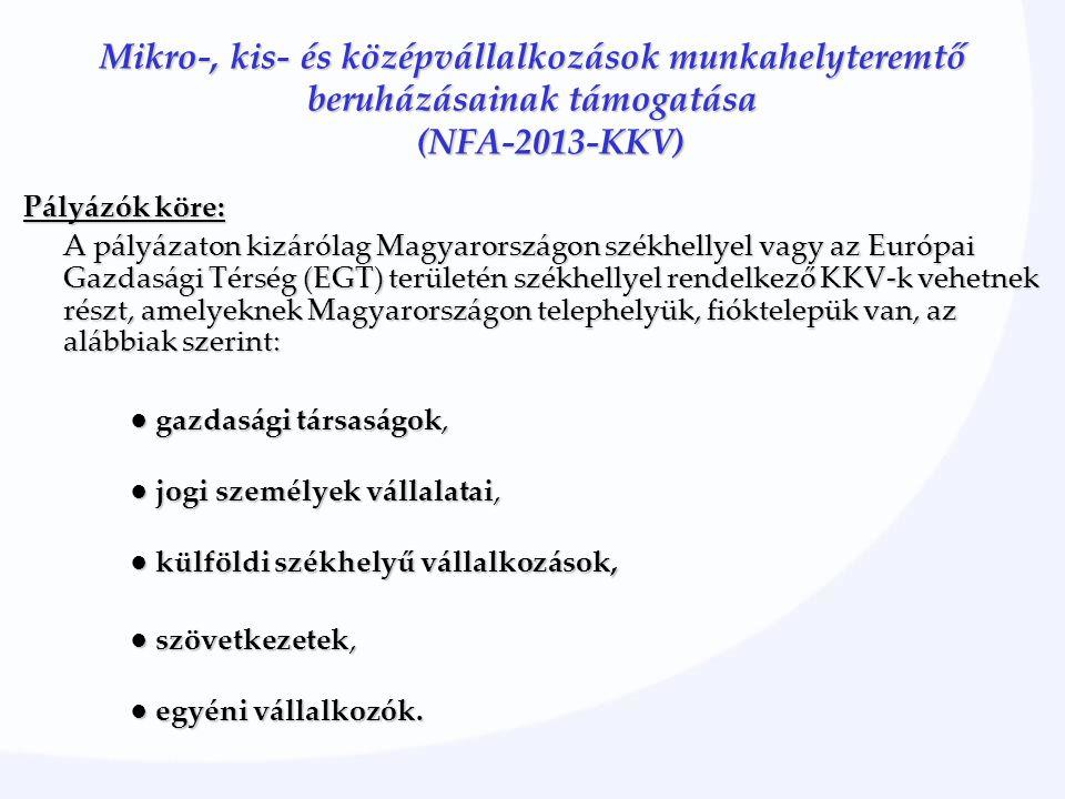 Mikro-, kis- és középvállalkozások munkahelyteremtő beruházásainak támogatása (NFA-2013-KKV) Pályázók köre: A pályázaton kizárólag Magyarországon székhellyel vagy az Európai Gazdasági Térség (EGT) területén székhellyel rendelkező KKV-k vehetnek részt, amelyeknek Magyarországon telephelyük, fióktelepük van, az alábbiak szerint: ● gazdasági társaságok, ● jogi személyek vállalatai, ● jogi személyek vállalatai, ● külföldi székhelyű vállalkozások, ● szövetkezetek, ● egyéni vállalkozók.