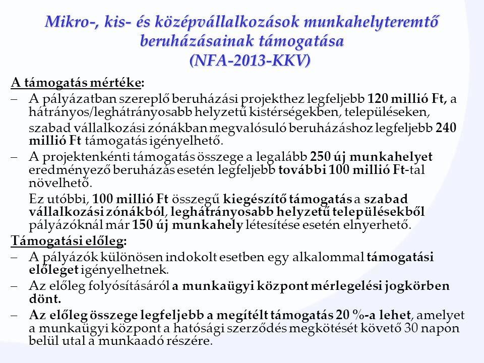 Mikro-, kis- és középvállalkozások munkahelyteremtő beruházásainak támogatása (NFA-2013-KKV) A támogatás mértéke: –A pályázatban szereplő beruházási p