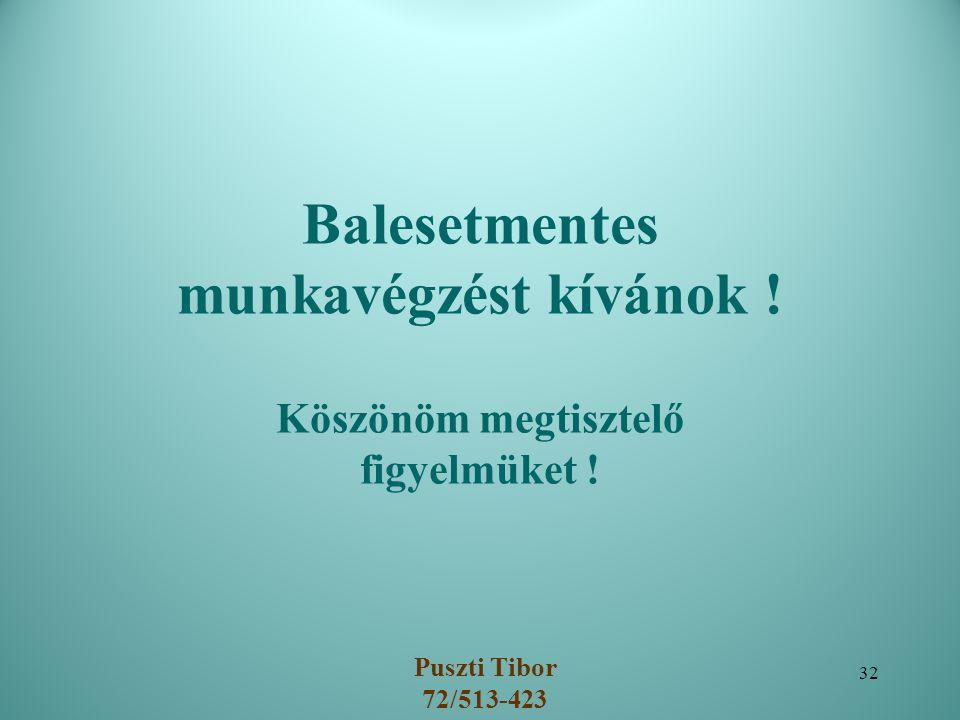 Balesetmentes munkavégzést kívánok ! Köszönöm megtisztelő figyelmüket ! Puszti Tibor 72/513-423 32