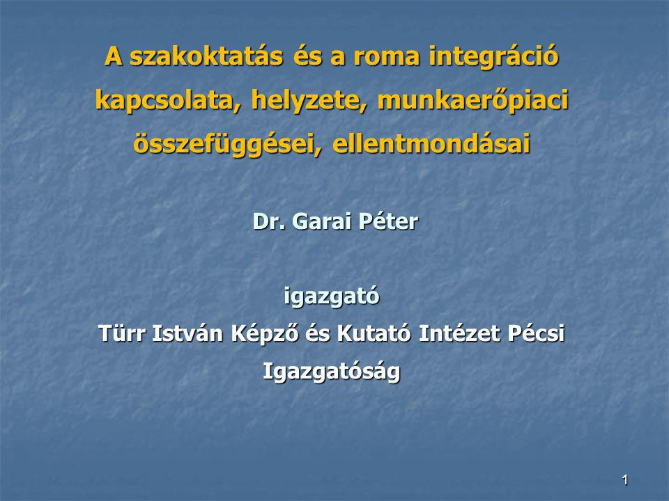 111 A szakoktatás és a roma integráció kapcsolata, helyzete, munkaerőpiaci összefüggései, ellentmondásai Dr. Garai Péter igazgató Türr István Képző és