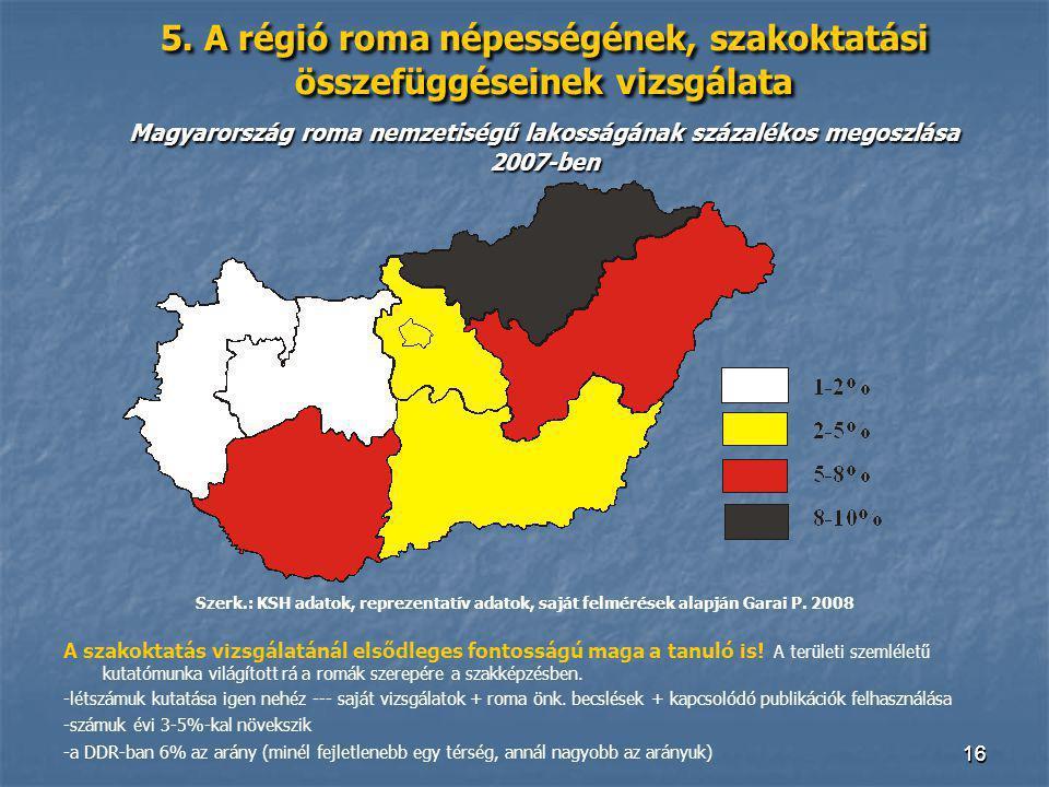 1616 5. A régió roma népességének, szakoktatási összefüggéseinek vizsgálata Magyarország roma nemzetiségű lakosságának százalékos megoszlása 2007-ben
