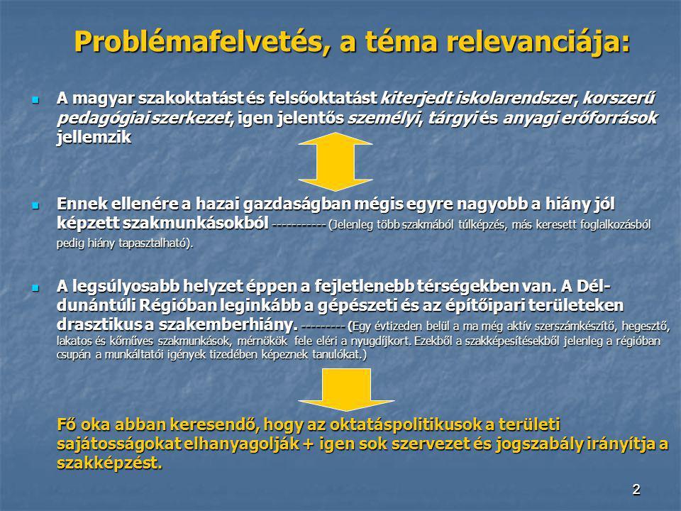 22 Problémafelvetés, a téma relevanciája: A magyar szakoktatást és felsőoktatást kiterjedt iskolarendszer, korszerű pedagógiai szerkezet, igen jelentő