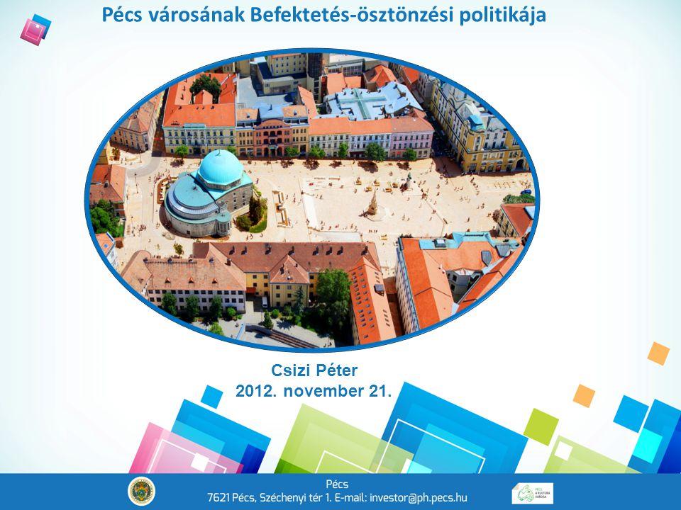 Pécs városának Befektetés-ösztönzési politikája Csizi Péter 2012. november 21.