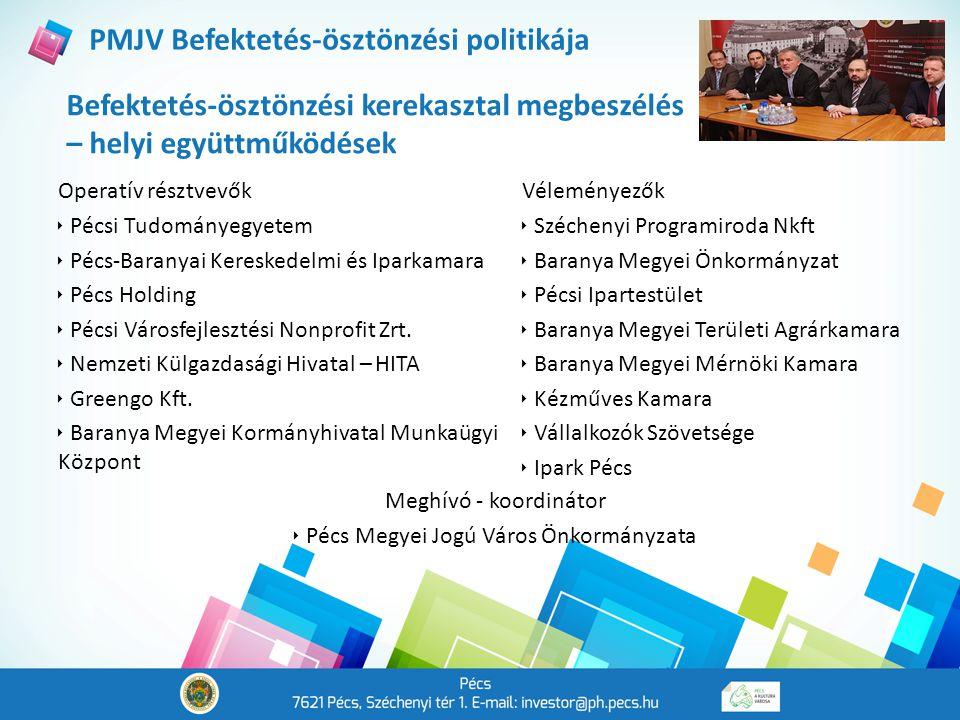 Befektetés-ösztönzési kerekasztal megbeszélés – helyi együttműködések PMJV Befektetés-ösztönzési politikája Operatív résztvevők  Pécsi Tudományegyetem  Pécs-Baranyai Kereskedelmi és Iparkamara  Pécs Holding  Pécsi Városfejlesztési Nonprofit Zrt.