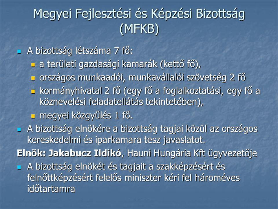 Megyei Fejlesztési és Képzési Bizottság (MFKB) A bizottság létszáma 7 fő: A bizottság létszáma 7 fő: a területi gazdasági kamarák (kettő fő), a terüle