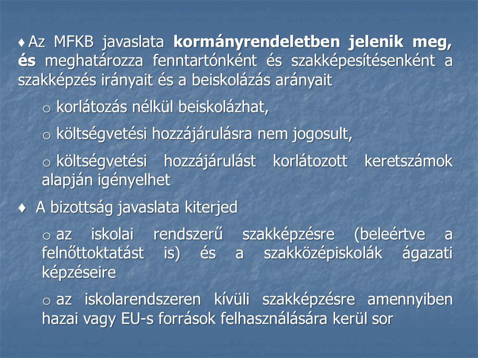Az MFKB javaslata kormányrendeletben jelenik meg, és meghatározza fenntartónként és szakképesítésenként a szakképzés irányait és a beiskolázás arányai