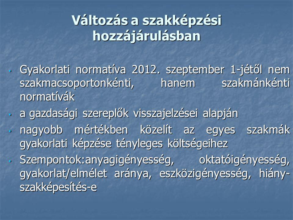 Változás a szakképzési hozzájárulásban Gyakorlati normatíva 2012. szeptember 1-jétől nem szakmacsoportonkénti, hanem szakmánkénti normatívák Gyakorlat