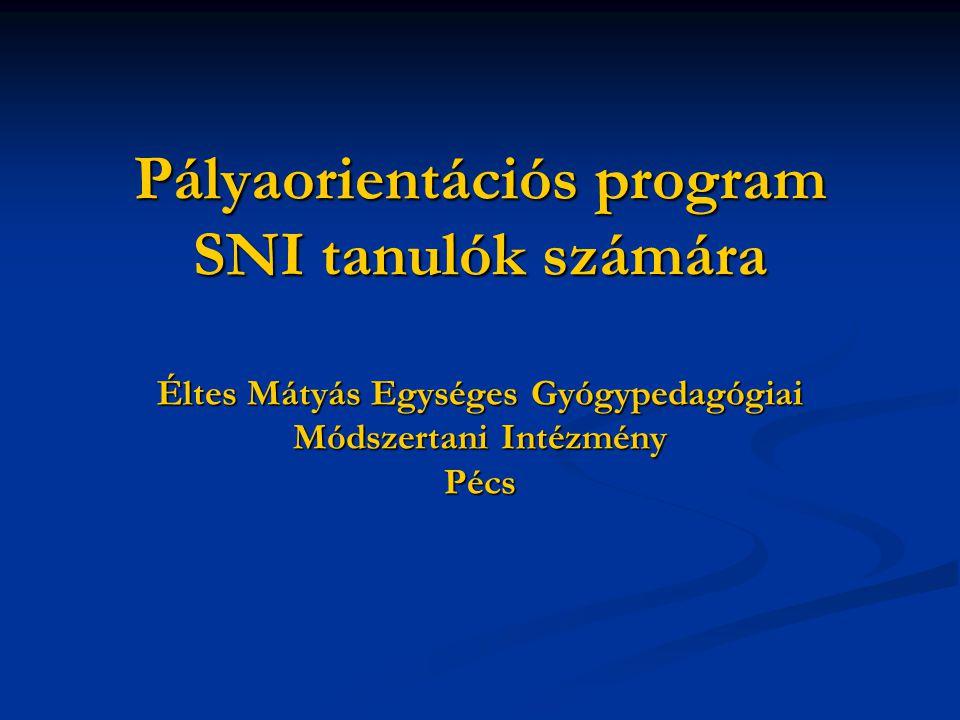 Pályaorientációs program SNI tanulók számára Éltes Mátyás Egységes Gyógypedagógiai Módszertani Intézmény Pécs